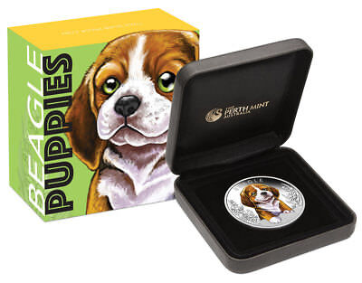 2018 Tuvalu Puppies Beagle 1/2 oz Silver Colorized Proof $0.50 Coin OGP SKU52979
