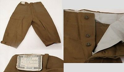 ANTIQUE 1900s Boy's KNICKERS Pants Khaki Cotton Twill Button Fly UNWORN Orig Tag