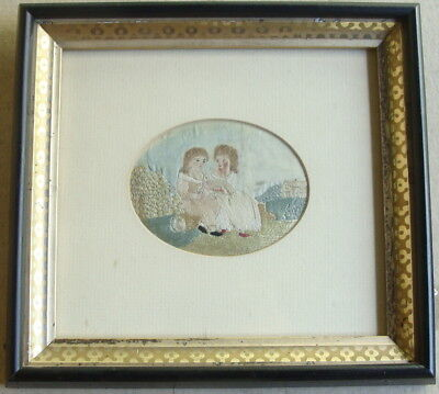 ca 1800 miniature framed silk on silk needlework, two small children
