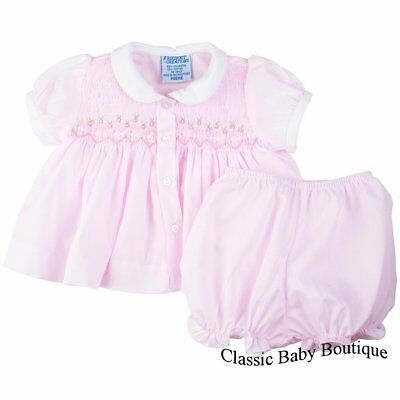 NWT Freidknit by Feltman Bros Smocked Ribbon Diaper Set Dress PREEMIE Baby Girl