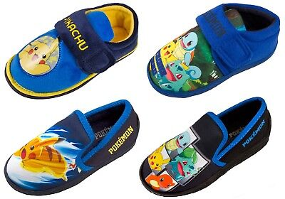 Boys Pokemon GO Slippers Pikachu Bulbasaur Charmander Squirtle Mules Kids Size