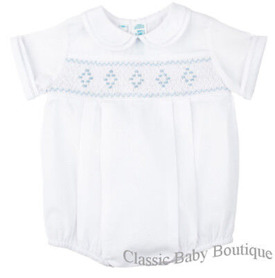 954901f7a NWT Feltman Brothers Boys White Blue Diamond Smocked Romper 3 6 9 Months  Baby