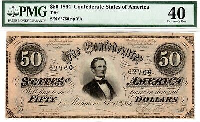 T-66 PF-12 $50 1864 Confederate Paper Money - PMG Extremely Fine 40!