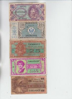 Military Payment Certificate 5 notes low grade and up