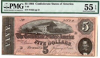 T-69 PF-9 $5 1864 Confederate Paper Money - PMG About Uncirculated 55 EPQ!!