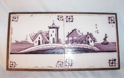 Two framed Delft Tile c. 18th  century   Church & Boat