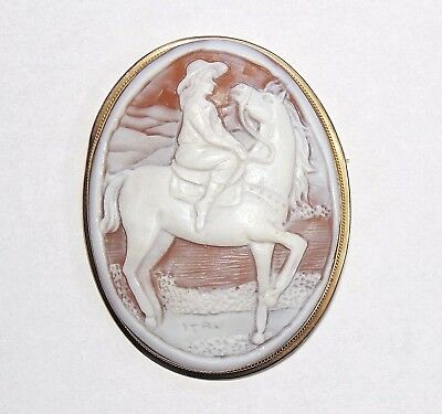Antique 9k Solid Gold Carved Shell HORSE & Lady Cameo Pin Brooch Pendant Large