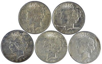 Five Mixed Condition Silver Peace Dollars (s288.27)