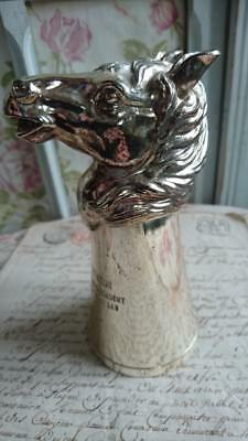 Gorgeous Vintage Horses Head Stirrup Cup Silver Plated