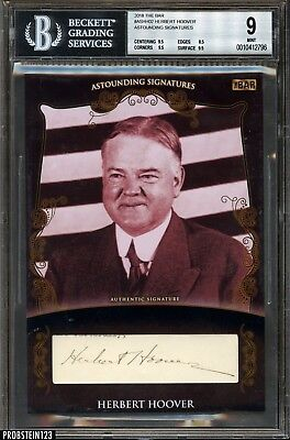 2018 The Bar President Herbert Hoover Signed Cut AUTO Autograph 1/1 BGS 9
