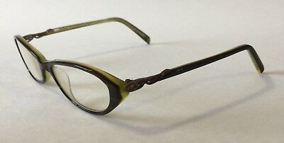 VINTAGE CAROLINA HERRERA NEW YORK EYEGLASSES H313 BROWN HORN/ LIME Made in Japan