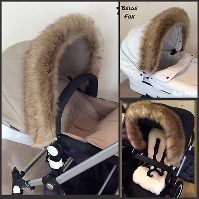LUXURY Pram Fur Hood Trim - BEIGE FOX - Long Fluffy Faux Fur - Fit ANY Pram