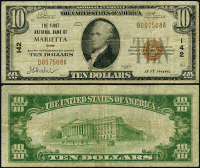 Marietta OH $10 1929 Ty 1 National Bank Note Ch #142 FNB Fine