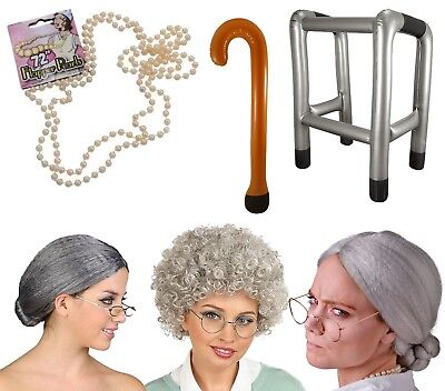 Old Lady Grey Granny Woman Grandma Nanna OAP Fancy Dress Costume Accessory Lot