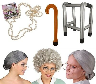 Old Woman Grey Granny Lady Grandma Nanna OAP Fancy Dress Costume Accessory Lot