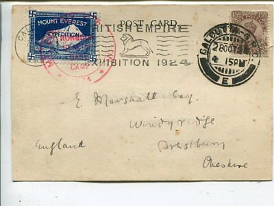 India Mount Everest 1924 expedirion special card sent to England