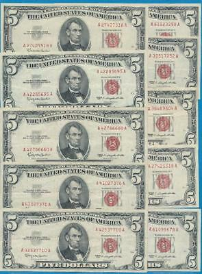 10-$5.00 1963  Series Legal Tender  Red Seals  Attractive Vf+  Dealers Lot