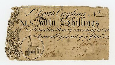 (NC-82) March 9th, 1754 40 Shillings - NORTH CAROLINA Colonial Currency Note