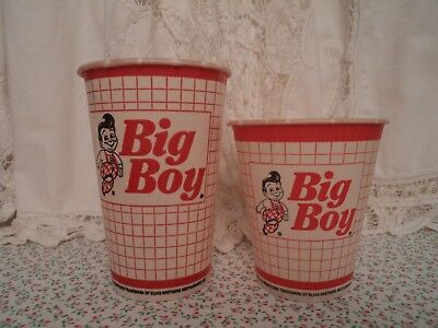 2 Vintage Bob's Big Boy Restaurant To Go Waxed Paper Cups 14 oz. and 10 oz.