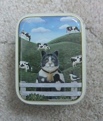 Keller Charles Black And White Cat Tin Box Can Jersey Cow