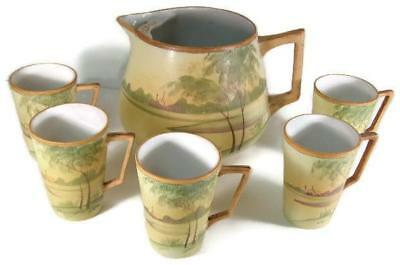 Antique Nippon Hand Painted Lemonade Set Pitcher & Five Tall Handled Mugs