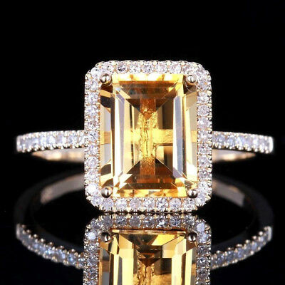 925 Silver Huge Citrine Ring Fashion Women Wedding Party Jewelry Gift SIZE 6-10