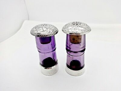 Vintage Newman's Silver Shop Reno Sterling Silver Amethyst Glass S & P Shakers