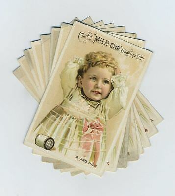 Lot (8) 1891 Advertising Trade Cards Clark Sewing Thread Beautiful Child bv5472