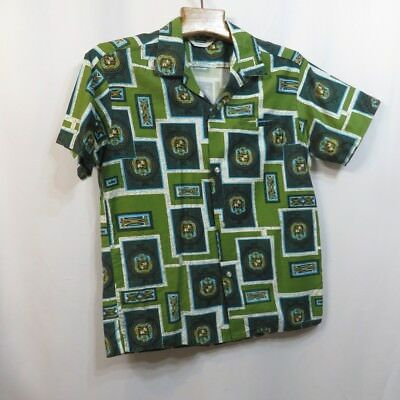 Vintage 50s Shirt Hawaiian Tiki VLV Rockabilly Malihini Loop Neck Cotton Party