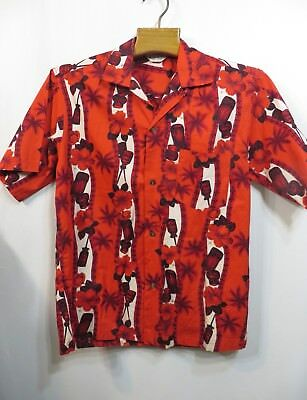 Vintage 50s Shirt Hawaiian Tiki VLV Rockabilly Alu Lole Loop Neck Cotton Party