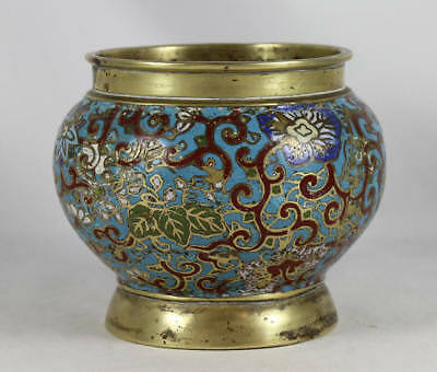 Chinese Cloisonne / Champleve Enamel Bronze Censer / Water Pot, Ming Dynasty