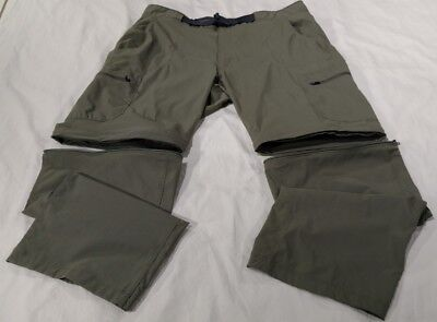 Outdoor Life Cargo Hiking Convertible Pants/Shorts Mens 38X29 Green Poly/Spandex