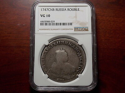 1747 SPB Russia Rouble silver coin NGC VG-10