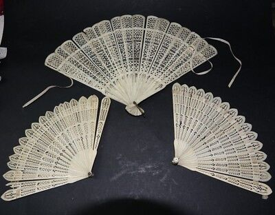 3 Very Old Chinese Finely Carved Fans - Restoration Projects - Rare - L@@k