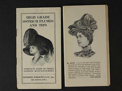 LOT: TWO 1910s MILLINERY HATS and OSTRICH FEATHERS CATALOGS~16 Pages~24 Panes