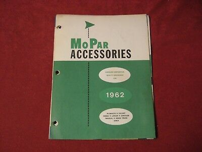 1962 Dodge Chrysler Plymouth Dealer Accessory Parts Book Brochure Catalog