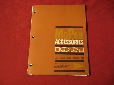 1961 Dodge Chrysler Plymouth Desoto Dealer Accessory Parts Book Brochure Catalog