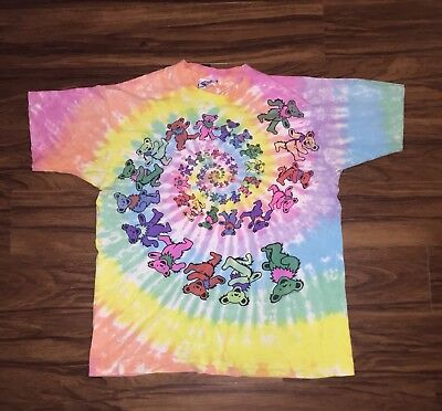 Vtg 80's 1989 GDM Grateful Dead Spiral Bears Tie Dye Shirt XL Liquid Blue