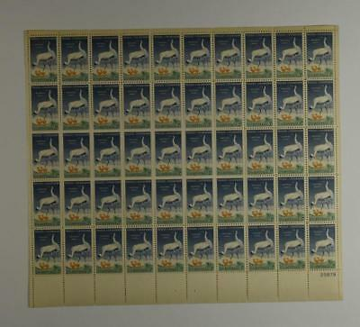 Us Scott 1098 Pane Of 50 Who0Ping Crane Stamps 3 Cent Face Mnh