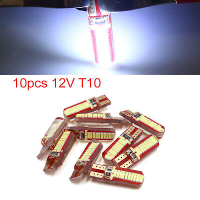 10pcs 12V T10 4014-SMD 24 LED White Car Side Wedge Light Bulb License Plate Lamp