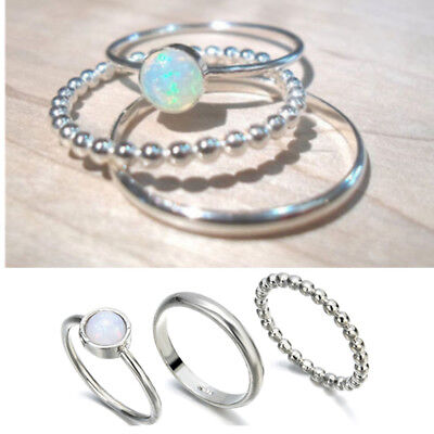 3Pcs Sparkling 925 Silver Fire Opal Gemstone Ring Set Wedding Gifts Jewelry 7-10