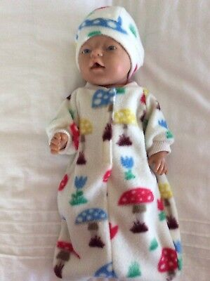 """Doll clothes - Sleeping Bag & Hat To Fit 17"""" Baby Born Doll ~ Cream / Toadstools"""