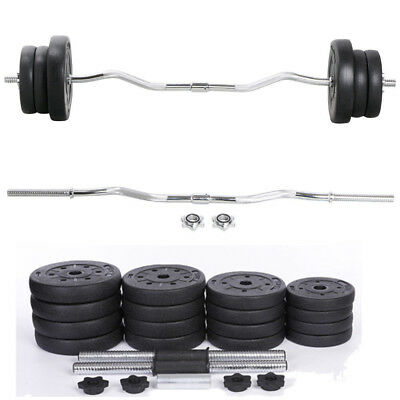 30Kg Barbell Gym Bar Set Weights Arm Cross Trainer Curl Lifting Exercise Workout