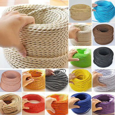 Two Core Twisted Vintage Style Coloured Braided Fabric Cable Lamp Flexible!