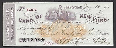 3 Lanham & Kemp New York City Bank Checks 1871-1879
