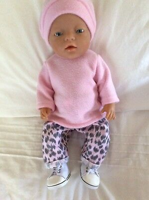 "Doll Clothes to fit 17"" Baby Born doll ~ 3 Piece Set. Pink Leopard. ~ Pink"