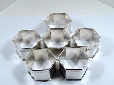 SET of SIX ANTIQUE SILVER NAPKIN RINGS ~ BIRMINGHAM 1909.