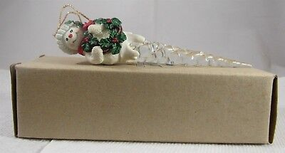"1995 Avon Gift Collection Snowman Icicle Ornament 6 1/2"" Long"