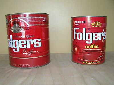 Vintage Folger's Coffee Tin cans - two sizes 3 lb and 2 lb.