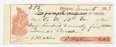 1863 Farmers' Bank of VA Check for 495 lb. of Bread in Rations - CSA Check AU